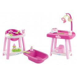 Écoiffier Nursery prebaľovací pultík pre bábiku s jedálenskou stoličkou a vaničkou 3v1