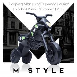 Enduro MotoKidZ Detské odrážadlo - motorka MAXI M-Style - čierna