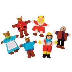BIGJIGS 6-dielna sada prstových maňušiek - Medvedia rodinka a Pinocchio