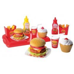 Detský set hamburgerov 100% Chef Écoiffier od 18 mesiacov s 25 doplnkami