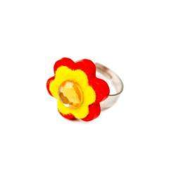 Detský prsteň - kvietok ružový-žltý