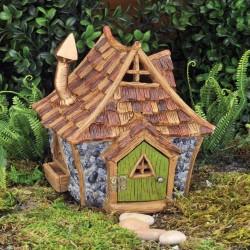 Domček pre miniatúrne záhradky - domček so zelenými dverami