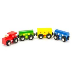Mentari drevený farebný vláčik - s červeným vozňom