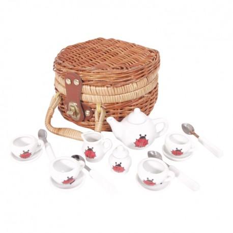Detská porcelánová čajová súprava - malá s lienkami