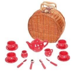 Detská porcelánová čajová súprava - vel'ká v košíku