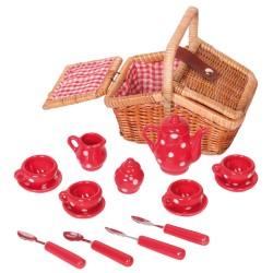 Detská porcelánová čajová súprava - malá v hranatom košíku