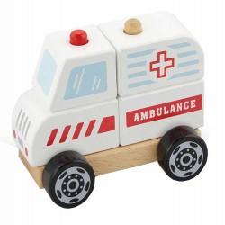 VIGA Drevené skladacie autíčko - Ambulancia