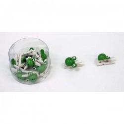 Drevené mini štipce biele so žabkou - 10 kusov