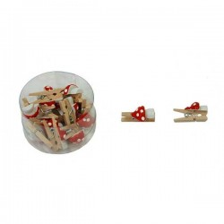 Drevené mini štipce natur s hríbikom - 15 kusov