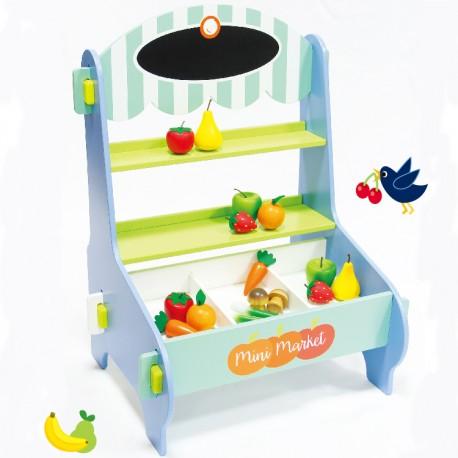 02d37d11a Mentari Drevený detský predajný stánok s ovocím a zeleninou ...