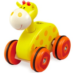 Wonderworld Drevená hračka na kolieskach - žirafa
