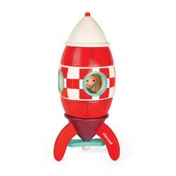JANOD detská drevená magnetická skladačka Kit Magnet raketa - veľká