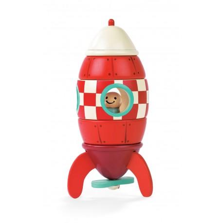 JANOD detská drevená magnetická skladačka Kit Magnet raketa - malá