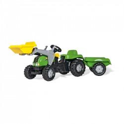 Rolly Toys Detský šlapací traktor Kid-X s vlečkou a lyžicou - zelený