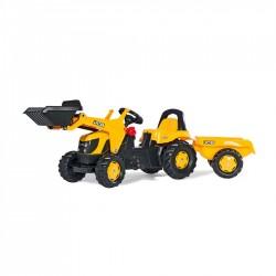Rolly Toys Detský šlapací traktor Kid JCB s vlečkou a lyžicou