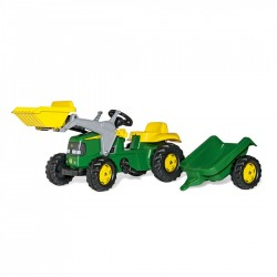 Rolly Toys Detský šlapací traktor Kid John Deere s vlečkou a lyžicou