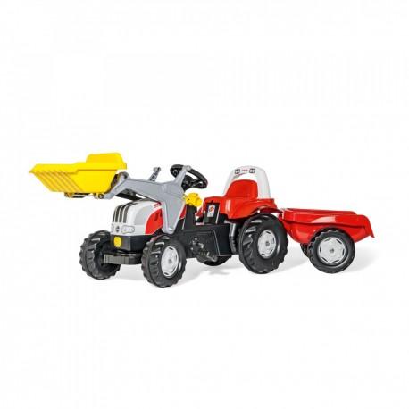 Rolly Toys Detský šlapací traktor Kid Steyr 6160 CVT s vlečkou a lyžicou
