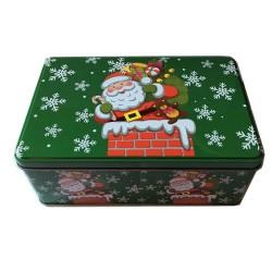 Vianočná plechová dóza - obdĺžniková s Mikulášm 20 x 13 x 6,5 cm