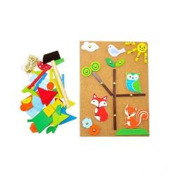 Drevená mozaika na pribíjanie pre deti - les