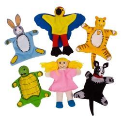 BIGJIGS 6-dielna sada prstových maňušiek - Domáce zvieratká a dievčatko