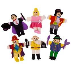 BIGJIGS 6-dielna sada prstových maňušiek - Cirkusoví zabávači