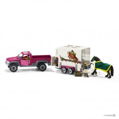 Schleich 42346 Pick-up s prívesom a koňom