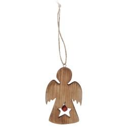 Drevená ozdoba na vianočný stromček - anjelik s hviezdičkou