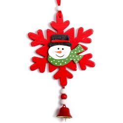 Drevená vianočná dekorácia na zavesenie - Snehuliak na vločke - červený