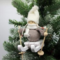 IMP-EX Vianočná ozdoba na zavesenie - dievčatko na sánkach - šedé