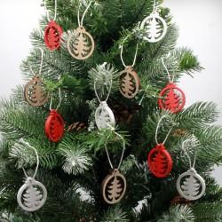IMP-EX Drevené vianočné ozdoby na zavesenie - stromčeky - 12 kusov