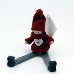 IMP-EX Vianočná ozdoba na zavesenie - chlapček s dlhými nohami - bordový