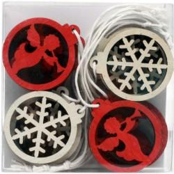 IMP-EX Drevené vianočné ozdoby na zavesenie - anjeliky a snehové vločky - 12 kusov