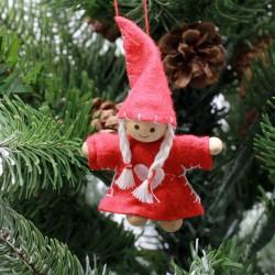 IMP-EX Ozdoba na vianočný stromček z filcu - dievčatko s čiapkou