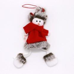 Vianočná ozdoba na zavesenie - snehuliak s červeným kabátikom