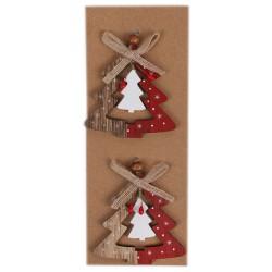 IMP-EX Drevené ozdoby na vianočný stromček 2 ks - stromčeky