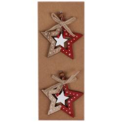 IMP-EX Drevené ozdoby na vianočný stromček 2 ks - hviezdičky