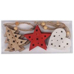 Drevené ozdoby na vianočný stromček 6 ks - hviezdičky