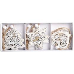 Vianočné ozdoby z kovu 6 ks - stromček, hviezdička a srdiečko