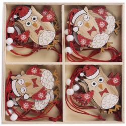 IMP-EX Drevené ozdoby na vianočný stromček 12 ks - sovy s čiapkou