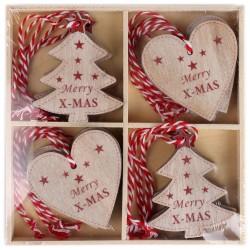 IMP-EX Drevené ozdoby na vianočný stromček 12 ks - stromčeky a srdiečka Merry X-MAS