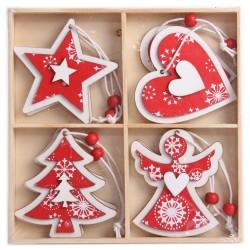 IMP-EX Drevené ozdoby na vianočný stromček 12 ks - 4 druhy červeno-biele