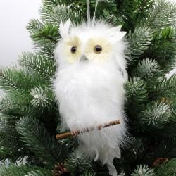 IMP-EX Vianočná ozdoba na zavesenie - sova na konáriku - biela