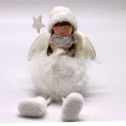 IMP-EX Vianočná dekorácia - sediaci anjelik s hviezdičkou