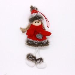 Vianočná ozdoba na zavesenie - dievčatko v  červenom kabátiku