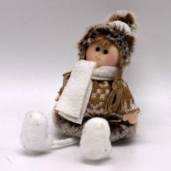 IMP-EX Vianočná ozdoba na zavesenie - dievčatko v  hnedom kabátiku