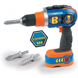 SMOBY Bob the Builder detská elektronická vŕtačka s 3 nadstavcami a 2 rotáciami
