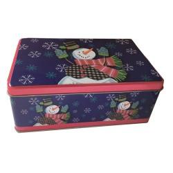 Vianočná plechová dóza - obdĺžniková so snehuliakom 20 x 13 x 6,5 cm