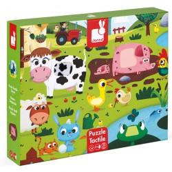 JANOD Drevené dotykové puzzle Zvieratká na farme