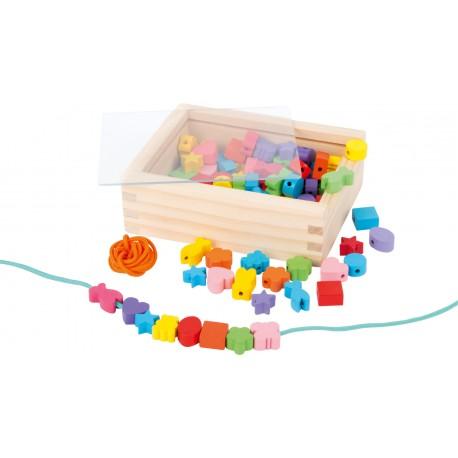 Legler Drevené korálky na navliekanie v krabičke - malé