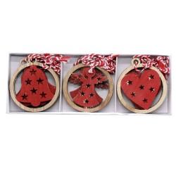 IMP-EX Drevené vianočné ozdoby na zavesenie 12 ks - 3 druhy - červené